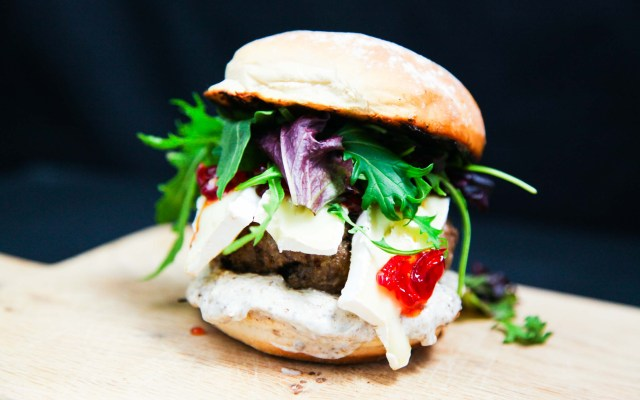 French Camembert Beef Burger with Chilli Jam and Truffle Mayo