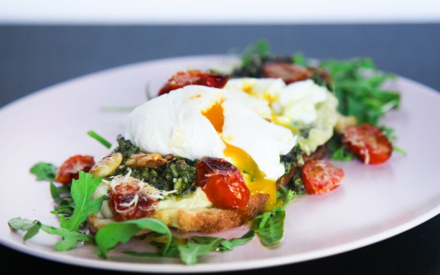 Delicious Umami Brunch with Oven Roasted Tomatoes, Hummus and Pesto