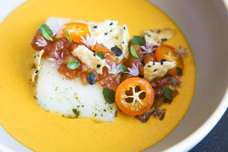 Exquisite halibut, lemon verbena, golden curry, quince and kumquat | Berries and Spice