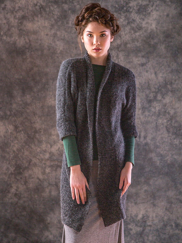 Cardenas cardigan knitting pattern in Berroco briza