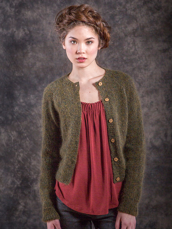 Montgomery cardigan knitting pattern in Berroco Briza