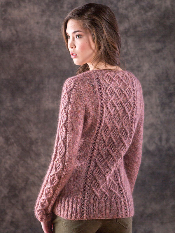 Mori sweater knitting pattern in Berroco Briza