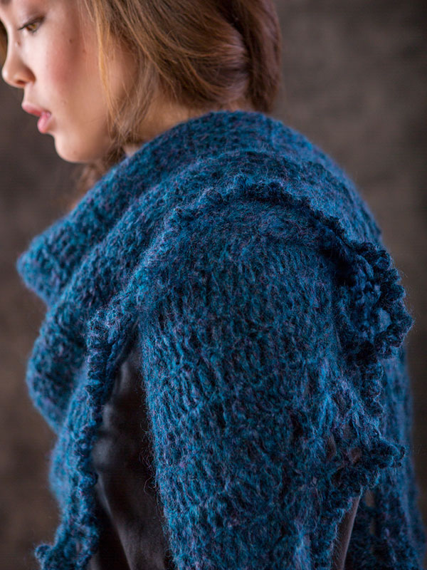 Thornton shawl crochet pattern in Berroco Briza