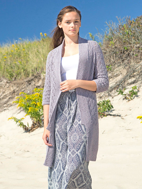 Morrenci cardigan knitting pattern in Berroco Maya