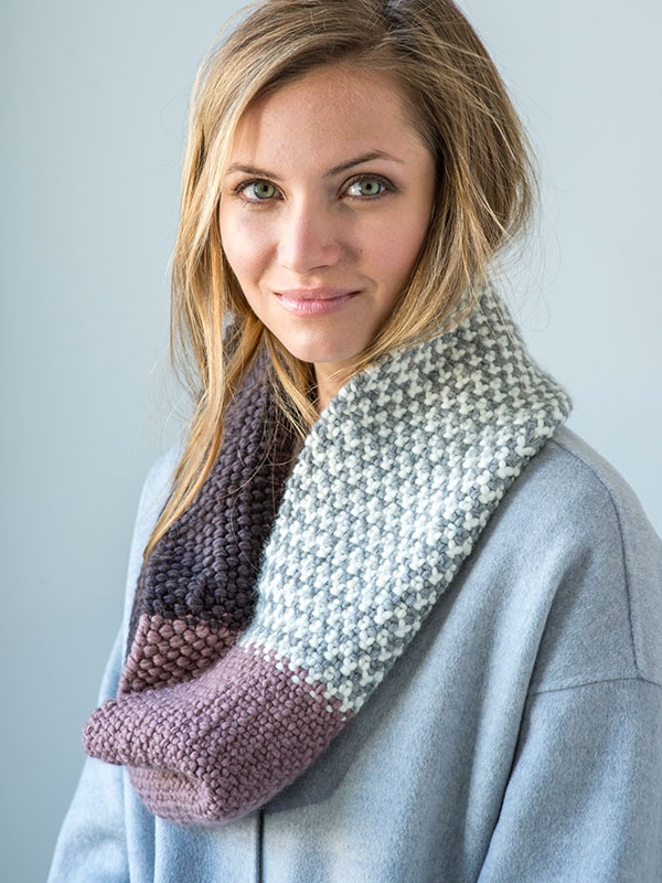 Damiano cowl knitting pattern in Berroco Noble