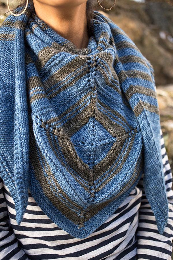 Madlen shawl knitting pattern in Berroco Artisan