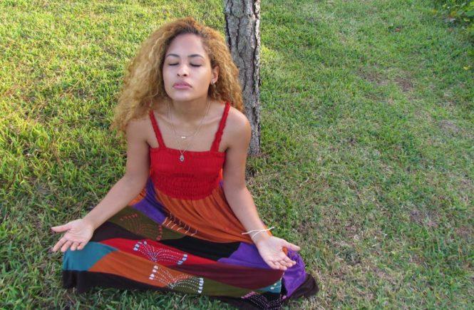 Red Patch Work Dress Meditation