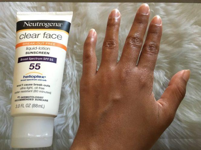 Neutrogena Clear Face sunscreen blends in tan skin