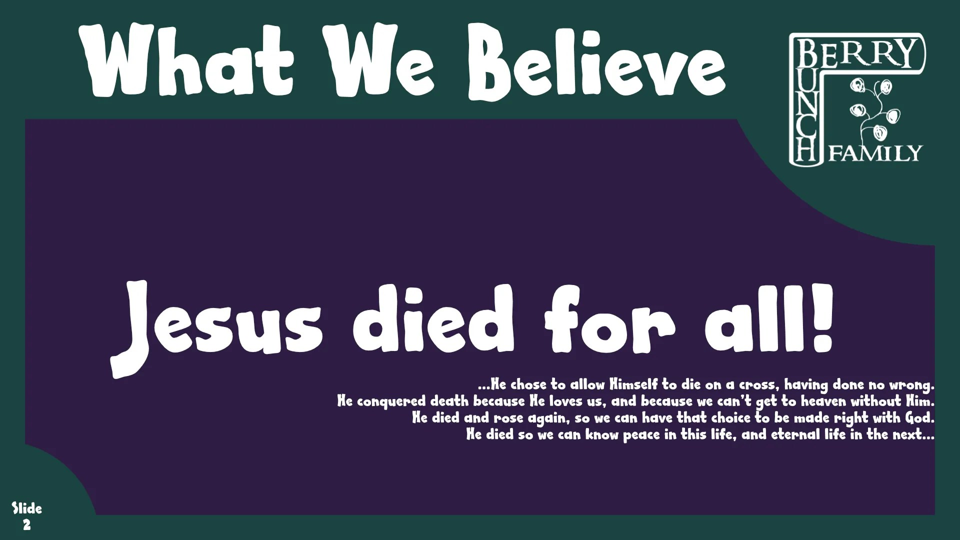 Jesus Died For All