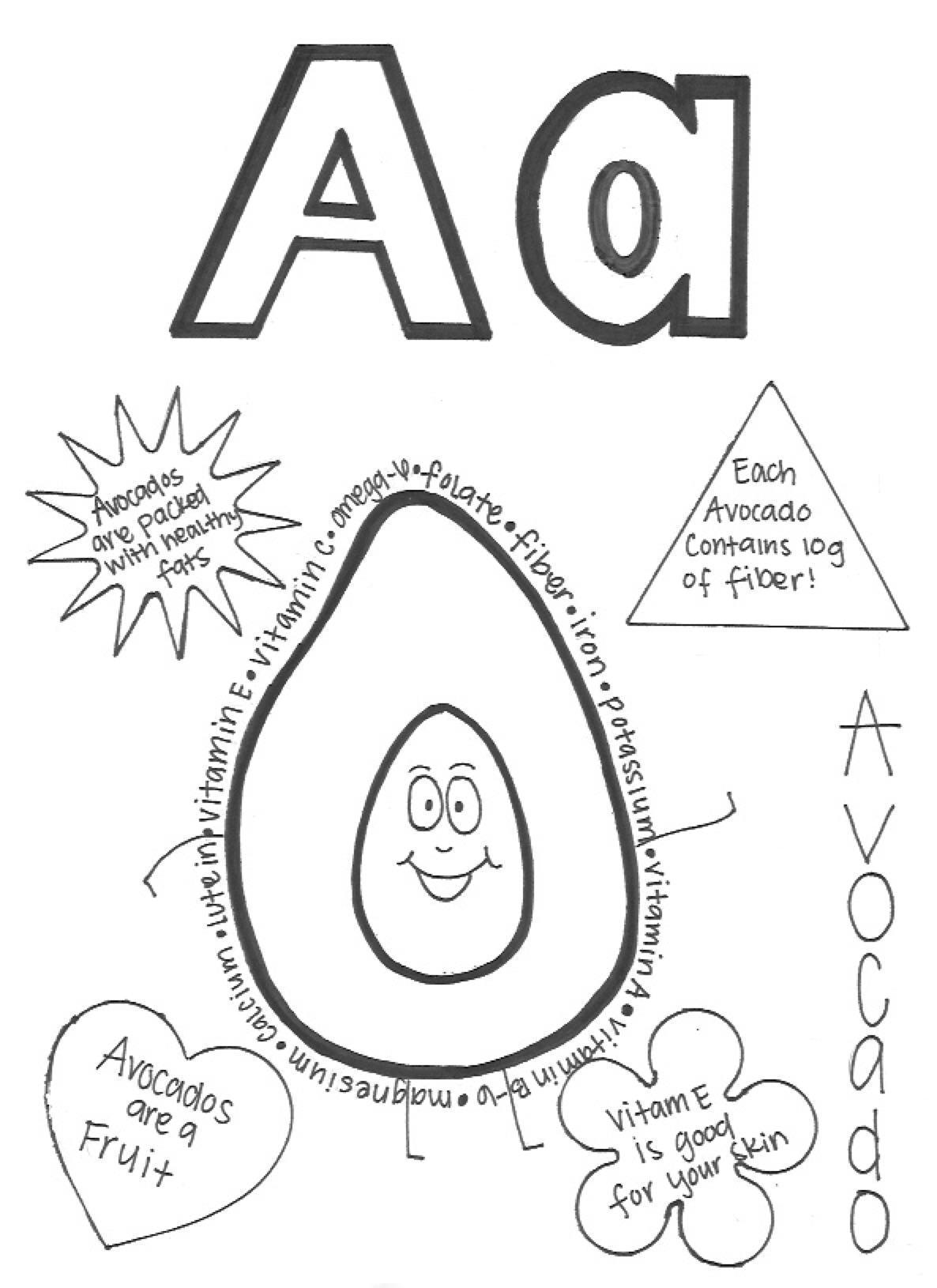 A- Avocado coloring page