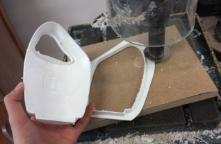 7. By using an horizontal saw, cut the final piece from the spare part.