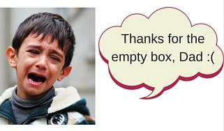 Crying Boy Empty Box for Birthday