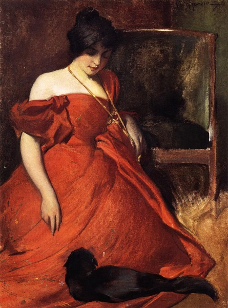 John White Alexander, Study in Black and Red