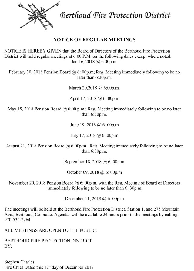Meeting Schedule & Agenda – Berthoud Fire Protection District