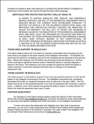 Press Release- Factual Statment Regarding Berthoud Fire's 7B ballot measure-2