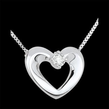 Collier or blanc et diamant joli cœur