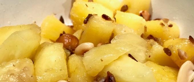 Recette rapide d'ananas caramélisé aux noix et graines torréfiées
