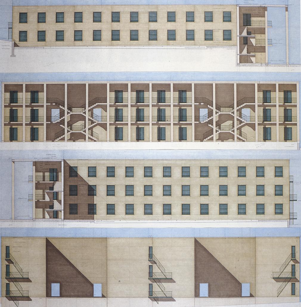 Giorgio Grassi 70  illustrations 5  Chieti  casa dello studente  Bertrand Terlinden