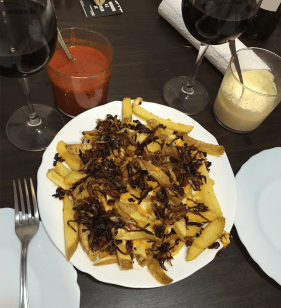 Every unique plate of french fries comes with home made sauce