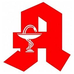 Apothekenzeichen : roter Buchstabe A und Kelch mit Schlange
