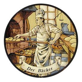 Zeichnung: Bäcker schiebt Brot in den Ofen