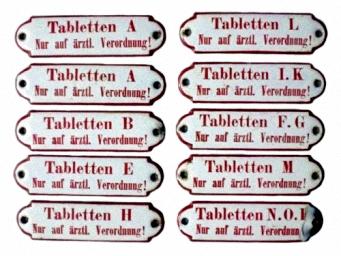 Apothekenschilder für Tabletten aus Emaille