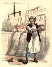 farbige Illustration: Bäcker in der Backstube
