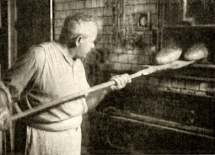 altes sw-Foto: Bäcker holt Brot aus dem Backofen