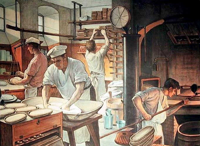 farbige Illustration: Bäcker arbeiten in der Backstube