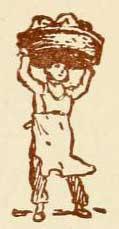Zeichnung: Bäcker mit Korb