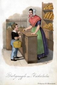 farbige Illustration: Junge kauft im Bäckerladen ein, Verkäuferin steht hinter der Theke