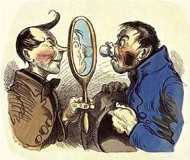 Kunde mit vielen Gesichtsverletzungen besieht sich im Spiegel