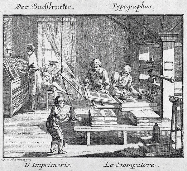 Arbeiter in der Buchdruckerei