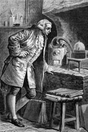 Stich: Chemiker Lavoisier experimentiert mit Sauerstoff