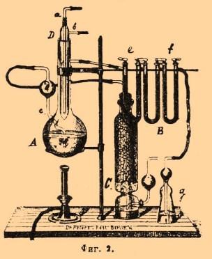 Illustration: chemische Versuchsanordnung mit Laborgeräten