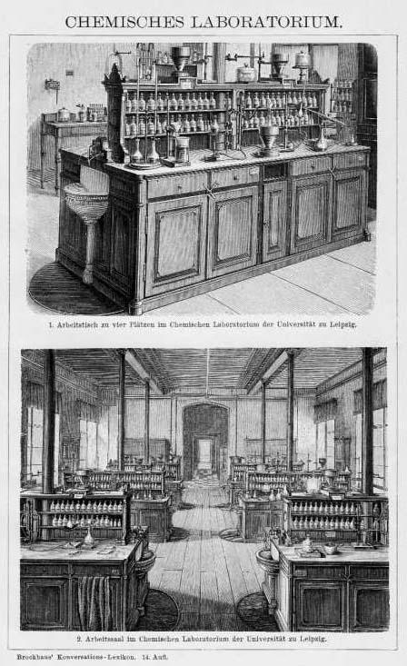 zwei sw-Ansichten: chemisches Laboratorium