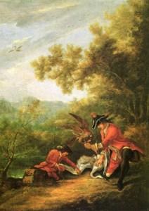 Gemälde: Falkner haben mit Falken Schwan gejagdt