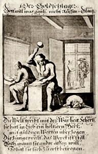 alter sw-Stich: Goldschmied schläg mit Hammer