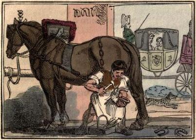 farbige Illustration: Hufschmied beschlägt Pferd - Kutsche wartet im Hintergrund