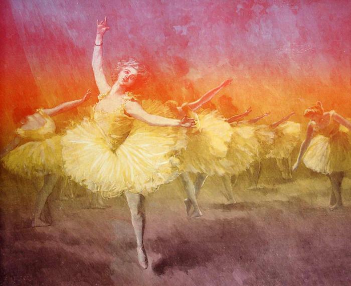Farbholzstich: Balletttänzerinnen