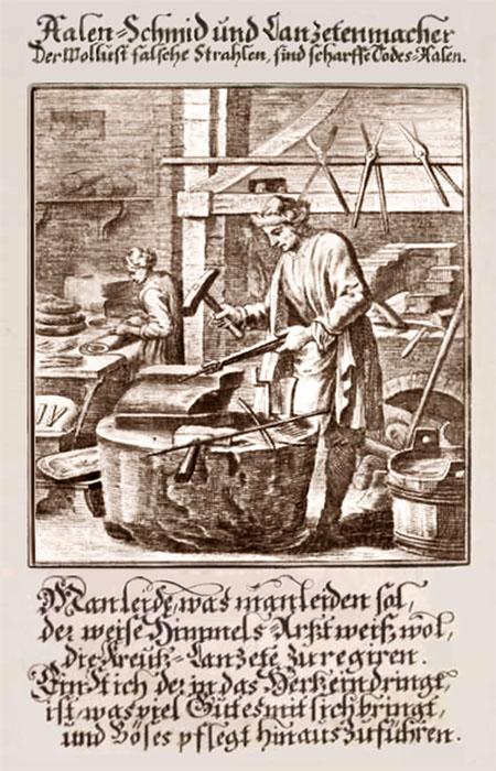 alter Kupferstich: Ahlenschmied mit Text dazu