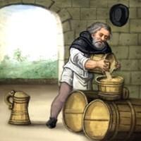 Bierbrauer schüttet Bier in ein Holzgefäß