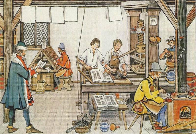 Illustration: Buchdrucker und Setzer in ihrer Werkstatt