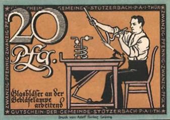 thüringisches Notgeld: Glasbläser an der Gebläselampe arbeitend