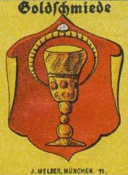 Zunftwappen der Goldschmiede mit Pokal