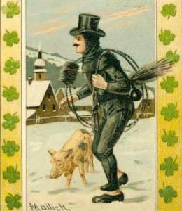 Kaminfeger mit Schwein im Winter