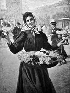 sw-Zeichnung: Blumenmädchen bietet auf der Straße Blumen an