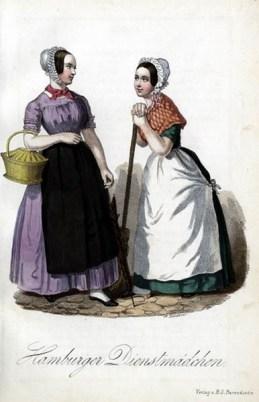 zwei Hamburger Dienstmädchen treffen sich