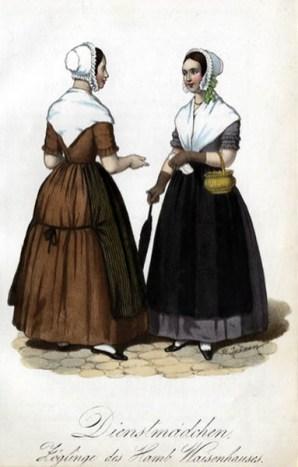 farbige Abbildung: zwei Dienstboten plaudern