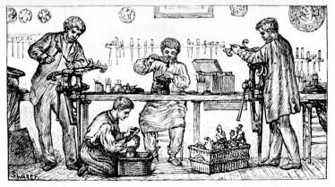 Illustration: vier Drechsler bei der Arbeit mit Holz